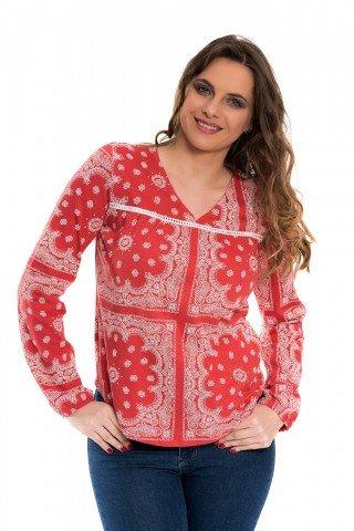 Bluza rosu englezesc cu imprimeu alb