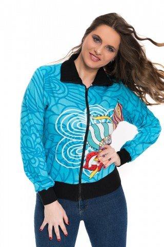 Jacheta albastra cu imprimeu multicolor