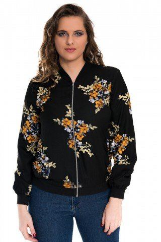 Bluzon negru cu imprimeu floral