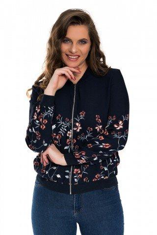 Bluzon bleumarin cu print floral