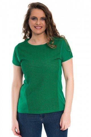 Bluza verde cu broderie sparta