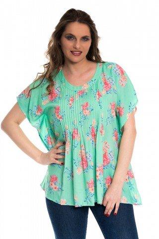 Bluza vedre cu piluri si print floral