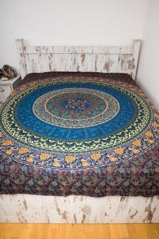 Cuvertura dubla albastra cu cerc floral