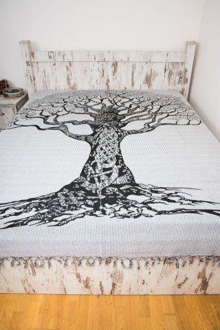 Cuvertura alb negru dubla Tree of Life