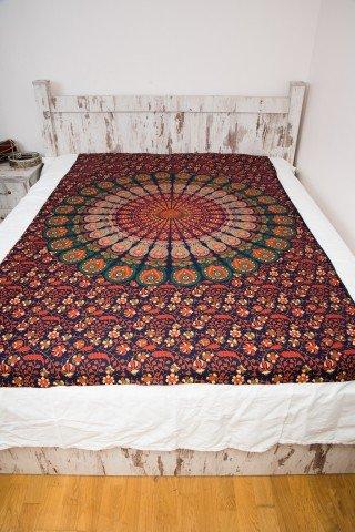Cuvertura single bleumarin Mandala
