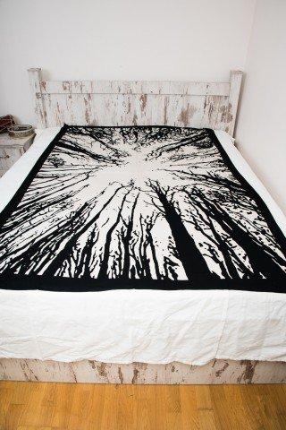 Cuvertura single alb negru Forest