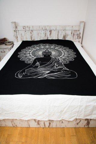 Cuvertura neagra single print alb