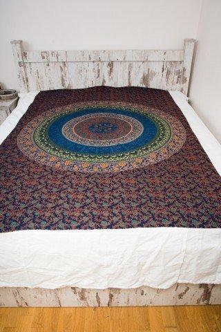 Cuvertura single bleumarin Mandala cerc