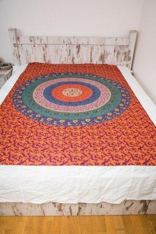 Cuvertura single portocalie cerc Mandala