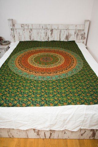 Cuvertura single verde cerc Mandala