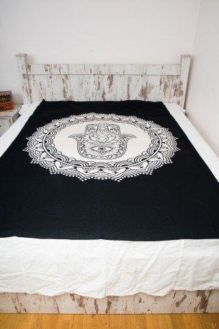 Cuvertura single neagra cu print alb Hamsa