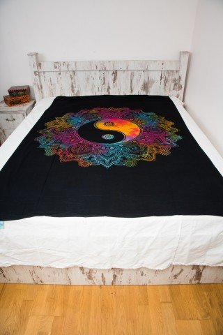 Cuvertura single neagra Yin Yang multicolor