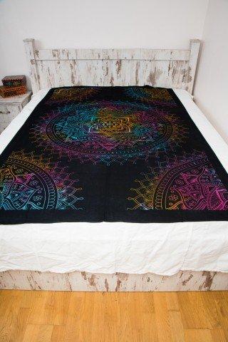 Cuvertura single neagra cu Lotus Multicolor