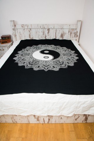 Cuvertura neagra single Yin Yang