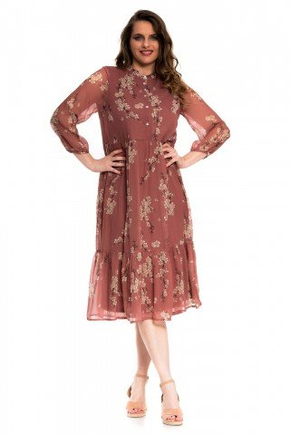 Rochie maro cu imprimeu flori de cires si nasturi
