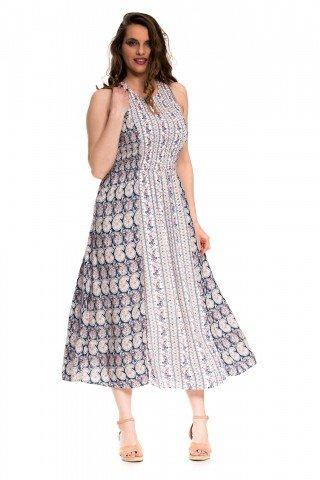 Rochie lunga alba cu print bleumarin si flori