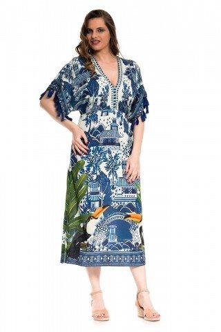 Rochie alba cu imprimeu albastru Rio