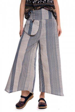 Pantaloni largi cu dungi verticale albastre