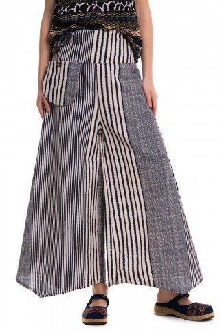 Pantaloni largi cu dungi bleumarin verticale