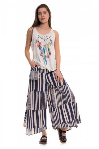 Pantaloni largi cu slituri si dungi bleumarin late