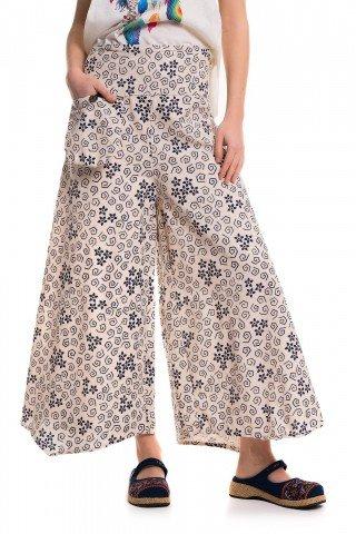 Pantaloni largi cu slituri si floricele bleumarin