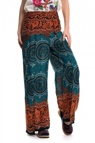 Pantaloni petrecuti portocaliu cu albastru