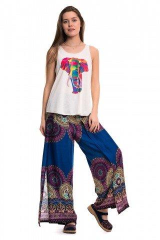 Pantaloni petrecuti albastru cu mov
