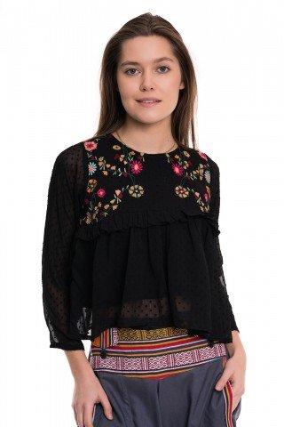 Bluza neagra cu volan si broderie colorata florala