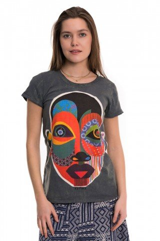Tricou gri petrol  Apstract Mask