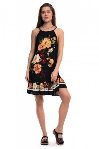 Rochie neagra cu volan si print floral