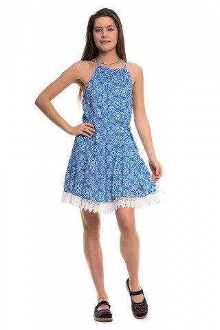 Rochie albastra cu imprimeu alb si snur