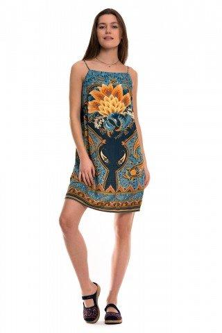Rochie turcoaz de vara cu floare Lotus