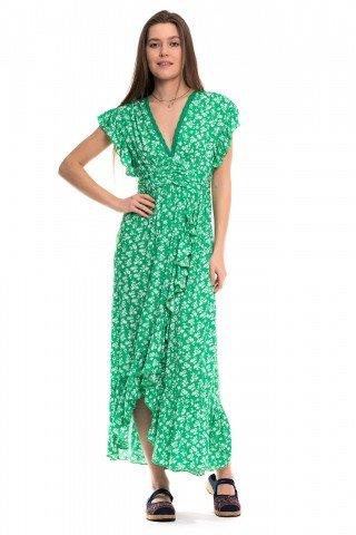 Rochie verde cu voalne si floricele