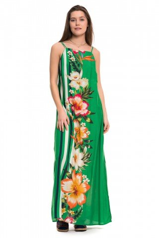 Rochie lunga verde cu imprimeu floral