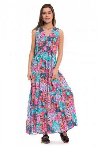 Rochie multicolora cu volane  Dor de vara