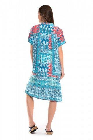 Rochie albastra cu imprimeu geometric si nasturi