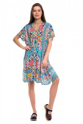 Rochie multicolora cu nasturi si print sicilian