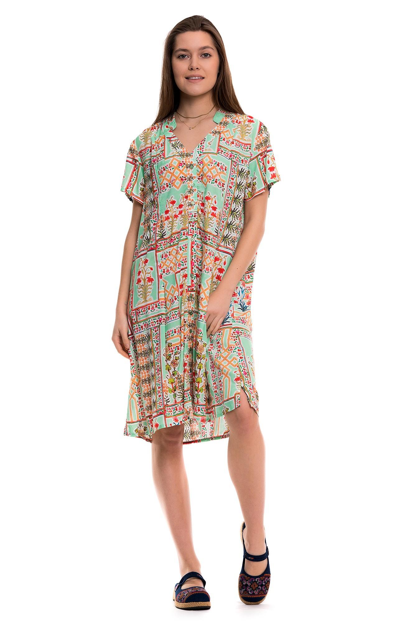 Rochie verde cu imprimeu multicolor Tolani