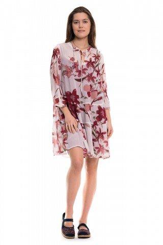 Rochie alba cu print floral rosu