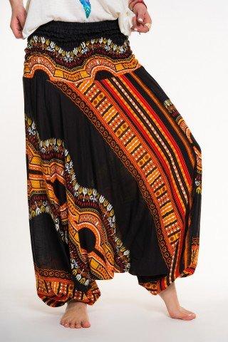 Salvari 2 in 1 negri cu print african portocaliu