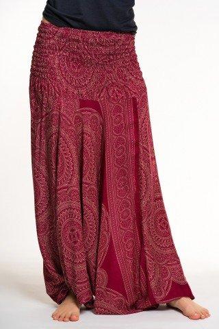 Salvari rosii 2 in 1 cu print alb mandala