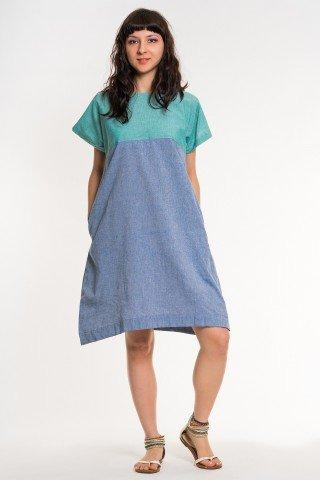 Rochie albastru denim cu buzunare