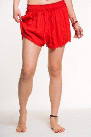 Pantaloni scurti rosii cu siret