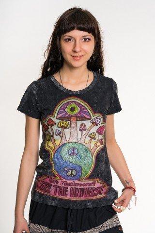 Tricou negru cu ciuperci multicolore