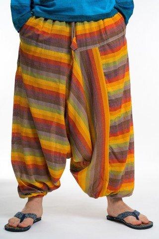 Salvari galbeni cu dungi multicolore unisex