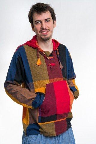 Camasa multicolora cu gluga tip hanorac