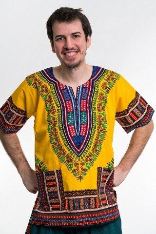 Camasa galbena unisex cu print african