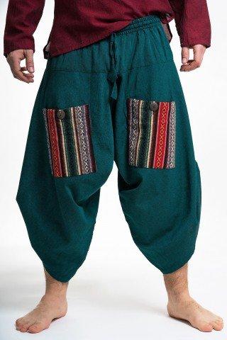 Pantaloni grosi verzi 3/4 evazati cu buzunare etnice