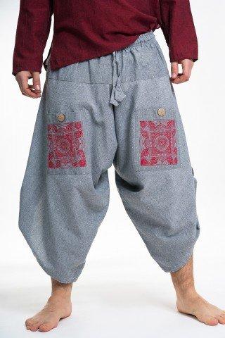Pantaloni grosi gri 3/4 evazati cu print mandala