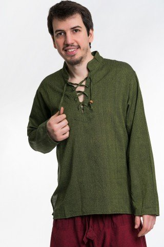 Camasa verde kaki cu siret in zig zag